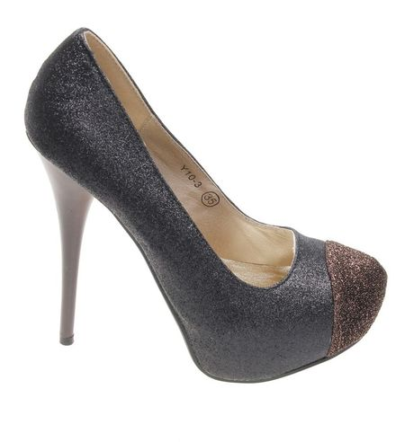 Pantofi de dama gold Glitter