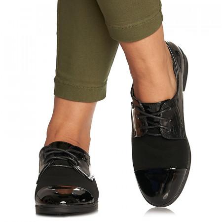 Pantofi office cu siret din velur cu lac Mada negru