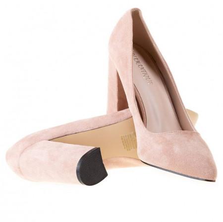 Pantofi office cu toc gros din velur Salma bej