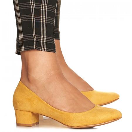 Pantofi office cu toc mic din velur Alma galben