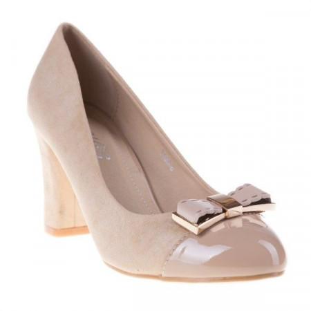 Pantofi office din piele intoarsa si lac Tina