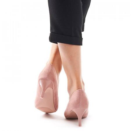 Pantofi stileto cu toc mic din velur Clara roz