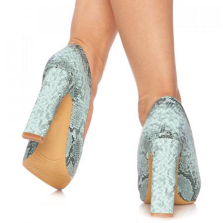 Pantofi stiletto cu toc gros snake Malena