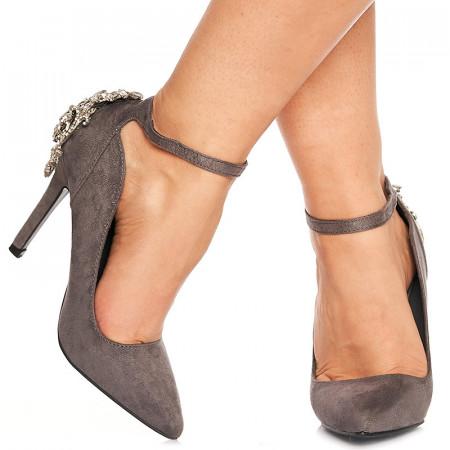 Pantofi stiletto cu toc inalt din velur Adelle gri