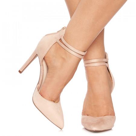 Pantofi stiletto cu toc inalt din velur Giuseppa bej