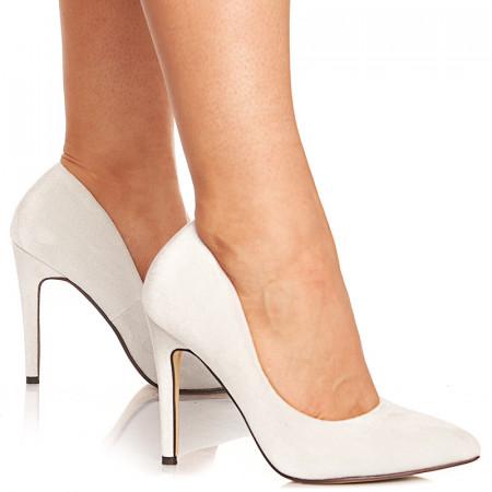 Pantofi stiletto cu toc inalt din velur Noela alb