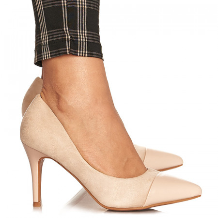 Pantofi stiletto cu toc mediu din velur Alicia bej