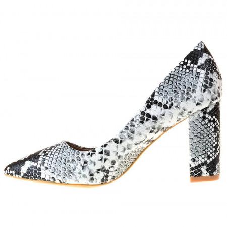Pantofi stiletto snake cu toc gros Martina