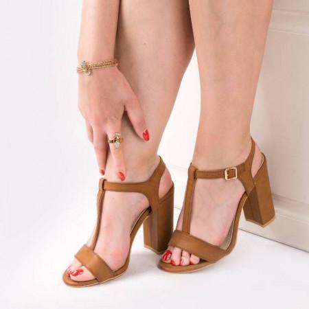 Sandale cu toc gros chic Alma camel