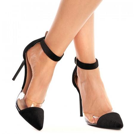 Sandale cu toc inalt din velur Sofia negru