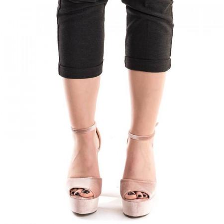 Sandale cu toc inalt si platforma cu imprimeu floral Mia