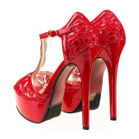 Sandale cu toc inalt si platforma Rosso