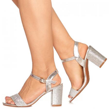 Sandale de ocazie cu toc mediu Rebeca argintiu