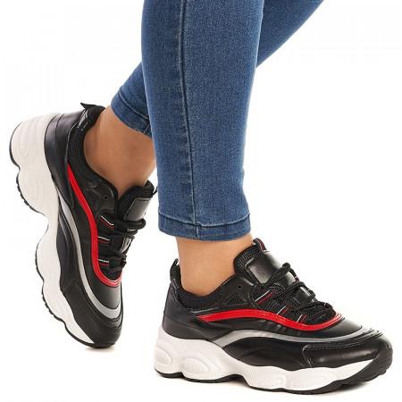 Sneakers Bonnie negru cu rosu