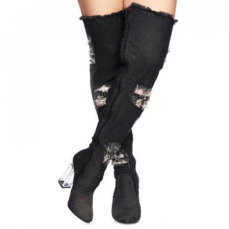 Cizme cu toc peste genunchi din blugi Giuliana