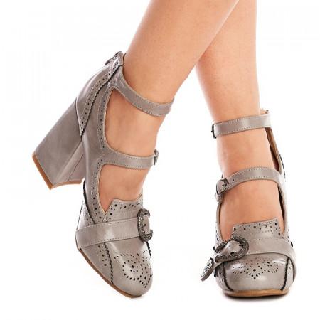 Pantofi cu toc gros trendy Sabrina gri