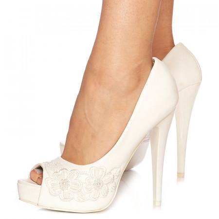 Pantofi de mireasa cu toc inalt si platforma Grazia