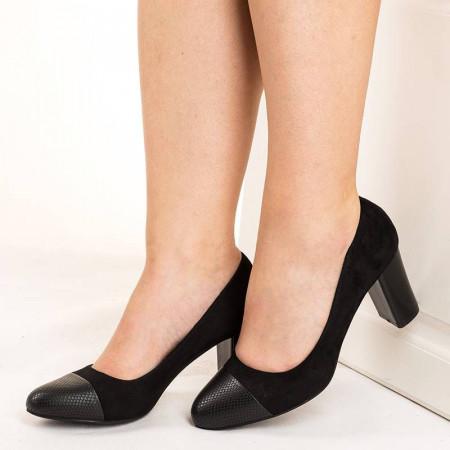 Pantofi office chic in combinatie de velur Anabella