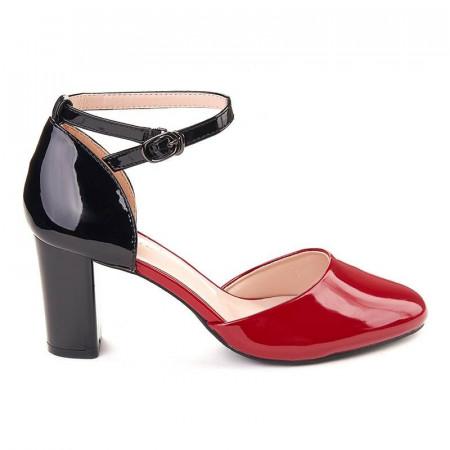 Pantofi office decupati in combinatie rosu si negru Marta