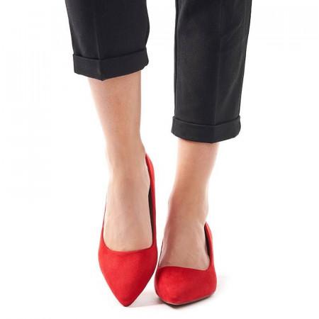 Pantofi stileto cu toc mic din velur Clara rosso