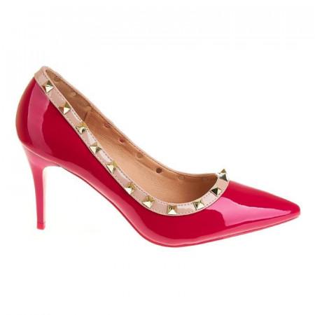 Pantofi stiletto cu toc mediu Carla fucsia