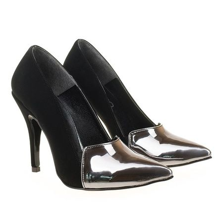 Pantofi stiletto metalic Coco arginto