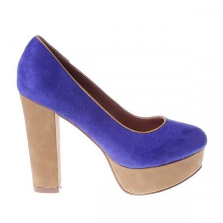 Pantofi West blue/beige
