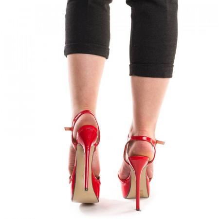 Sandale cu platforma si toc inalt Marta rosu