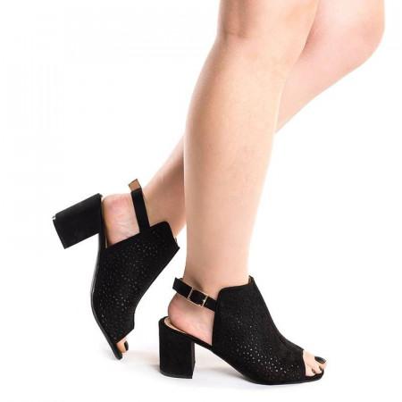 Sandale cu toc gros Chika negru