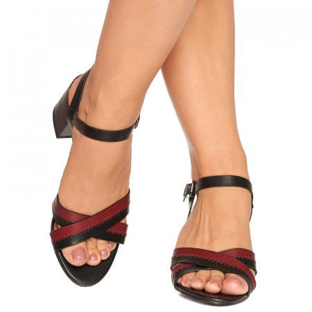 Sandale cu toc mediu gros Linda negru