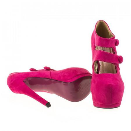 Pantofi cu platforma din velur Amalia roz