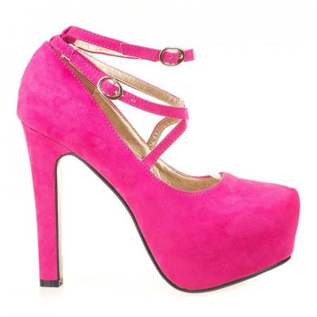 Pantofi cu platforma Iva fucsia