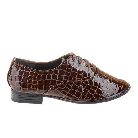 Pantofi office croco brn Alma