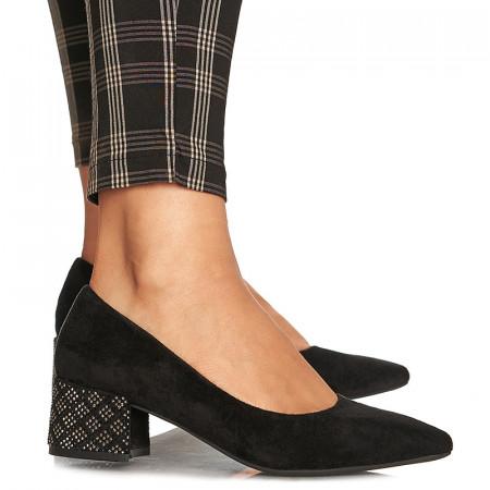Pantofi office cu toc mic Milano negru