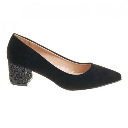 Pantofi office din velur cu toc glitter Layla