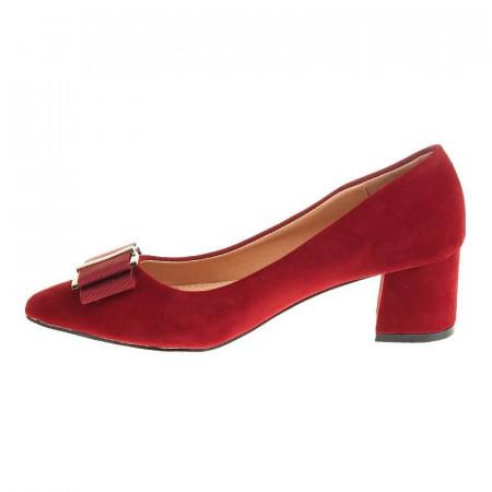 Pantofi office stiletto cu toc mic din velur Layla rosu