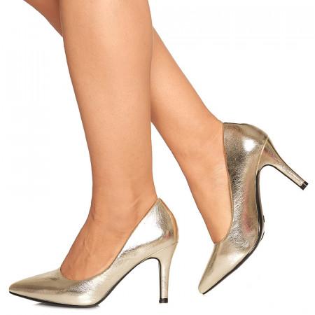 Pantofi stiletto cu toc mediu de ocazie Martina auriu