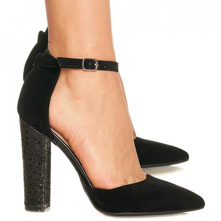 Pantofi stiletto din velur cu toc inalt lucios Grazia negru