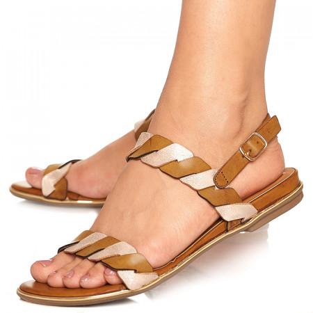 Sandale cu talpa joasa Adora bej cu auriu