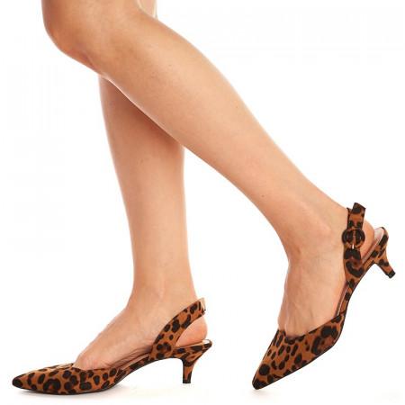 Sandale cu toc mic Mira leopardo