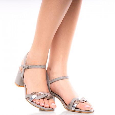 Sandale dama dama cu toc mic Gailana gri