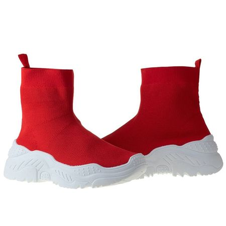 Sneaker trendy din textil elastic Andra red