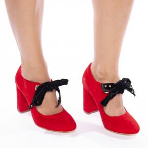 Pantofi cu toc gros din velur Alberta rosu