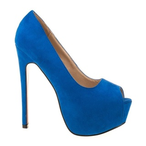 Pantofi cu platforma din velur Angie blue