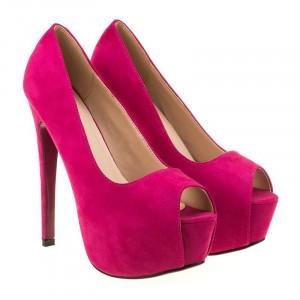 Pantofi cu platforma din velur Angie roz