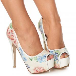 Pantofi cu platforma si toc inalt Azumi alb