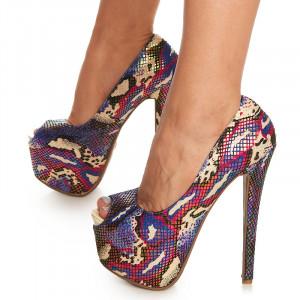 Pantofi cu platforma si toc inalt Carletta multicolor