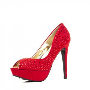 Pantofi cu toc inalt si platforma din velur Branca rosu