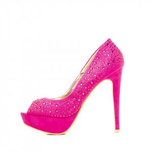 Pantofi cu toc inalt si platforma din velur Branca roz