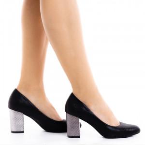 Pantofi dama cu toc mediu din material deosebit Catarina negru